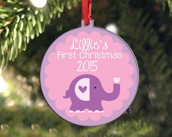 Baby's First Christmas Ornament - Personalized Christmas Ornament - Baby Elephant Christmas Ornament - New Baby Gift Baby Christmas Gift