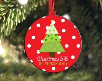 Personalized Christmas Ornament, Holiday Ornament, Christmas Tree Personalized, Housewarming Gift, Christmas Gift, Teacher Gift, polkadot