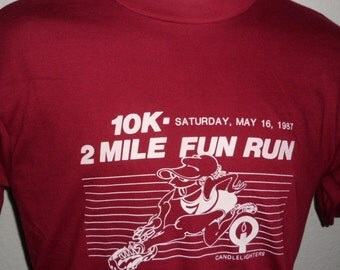 Vintage Original 1980s 1987 CandleLighters 10K 2 Mile Fun Run Race Burgundy T Shirt L