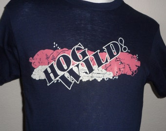 Vintage Original 1980s 1984 Turkey Hill Frolic HOG WILD! Soft Thin HANES T Shirt M