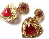 Baroque Babygirl Mini Heart Earrings with Vintage glass sacred heart stone