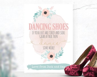 XXL Dancing Shoes Feet Personalised  Wedding Flip Flop Canvas Poster Water Colour Flower Design Mint & Pink (W6)