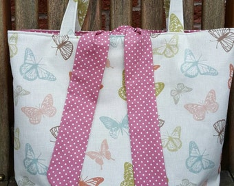 Butterfly fabric tied tote bag, fully lined in matching cotton fabric - can also be custom made