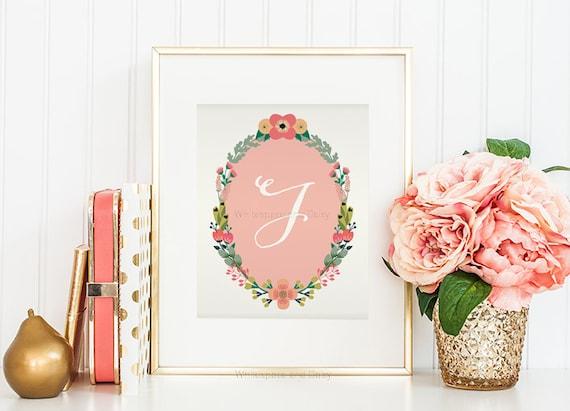 Letter J Wall Art Nursery Monogram Letter J Wall Art Letter J Art Monogram Art