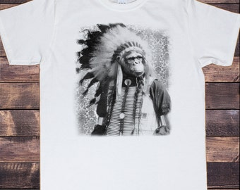 Men's White T-shirt with Tribal Monkey Print TSC1