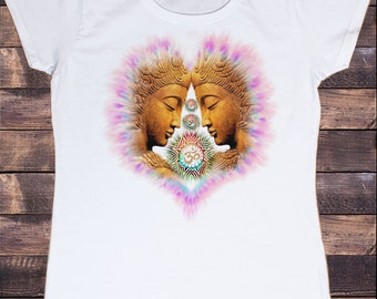 Women's White T-Shirt Buddha Om Asum Yoga Chakra Meditation India Zen-Peace Heart TSG5