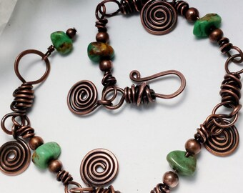 Antique Copper and Turquoise Bracelet - Rustic Spiral Charms