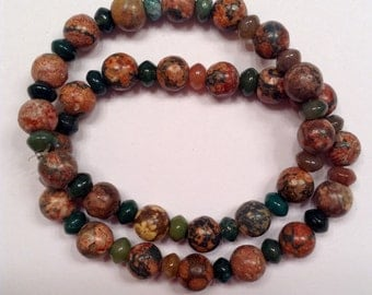 Agate and Jasper stretch bracelet