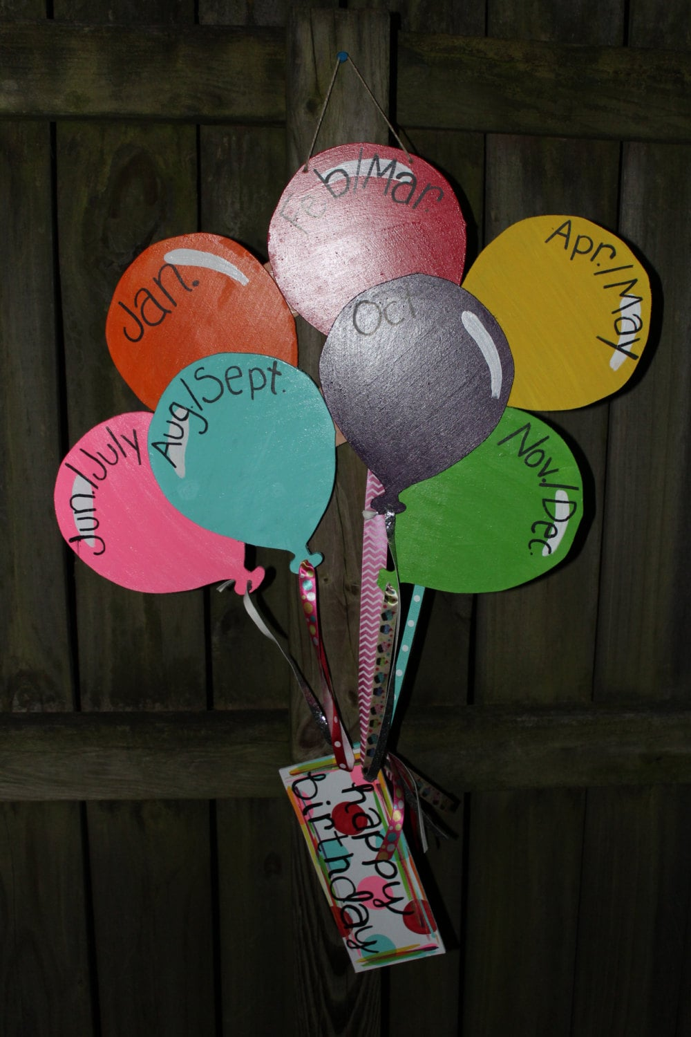 Happy birthday wooden balloons wall decor for Balloon decoration on wall for birthday