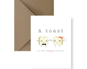 A Toast To The Happy Couple Greeting Card | Funny Wedding Card, Cute Wedding Card, Funny Marriage Card, Cute Marriage Card