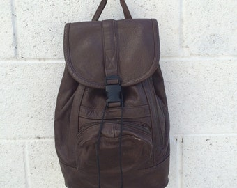 Espresso Brown Leather Backpack