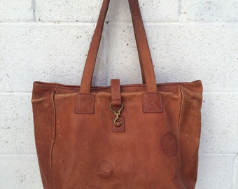 Oversized 90's Ralph Lauren Leather Tote