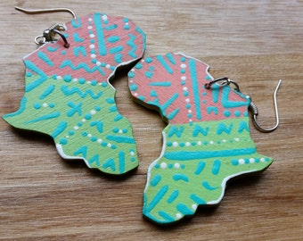 Hand painted tribal Africa earrings