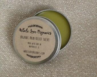 Organic Pain Relief Salve Arnica Comfrey Cayenne Wintergreen Essential Oils