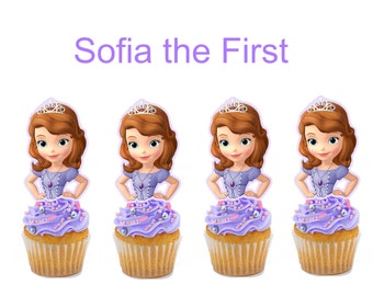 Sofia the First cupcake toppers, cakepop toppers
