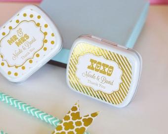 Personalized Metallic Foil Mint Tins Wedding Tin Cans Rose Gold Silver Tea Party Glitz Glam Destination Bridal Shower Bachelorette Favors