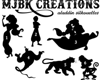 Aladdin wall decals etsy for Aladdin and jasmine on carpet silhouette