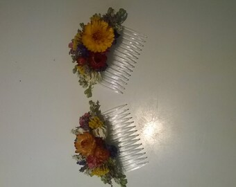 Beautiful NATURAL Bespoke Autumn Floral Comb.  Dried Flowers, Wedding Hair Piece, Bride, Bridesmaid, Flowergirl, Flower Clips Accessory
