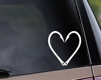 Fish Hook Heart Vinyl Car Decal - Fishing - Lure - Tackle - Love - Car Window Decal - Laptop Decal - Bumper Sticker