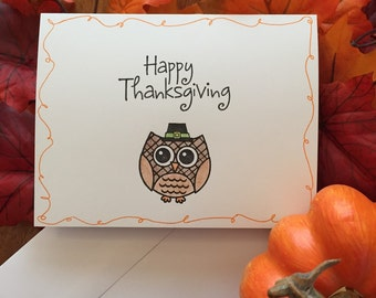 Thanksgiving Pilgrim Owl Card