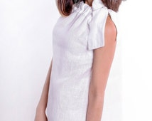 White Linen Sundress Summer.Sleeveless MIDI Dress With Bow. A silhouette Dress casual