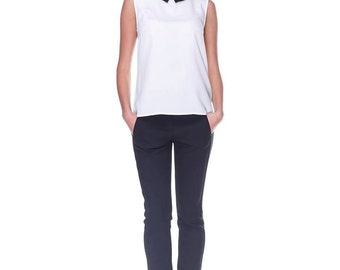 Simple White Top with a Collar.Casual Sleeveless Blouse