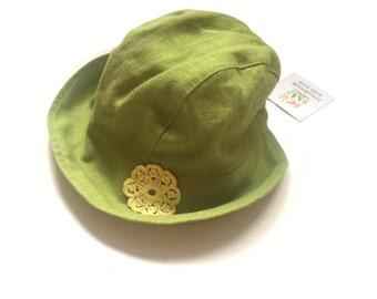 Girls Linen hat green, Girls sun hat, summer linen hat, girls linen hat,  flax hat, handmade linen hat