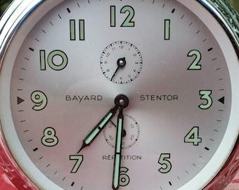 Rare Antique French Retro Parisian Chrome Modernist Bayard Stentor Repetition Alarm Clock- Brocante Chic!