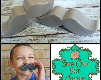 Mustache soap bars - set of 4 - Shea Butter soap, Handmade soap, Mustache Party Favors, Little Man Party Favors