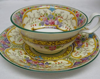Fabulous St Austell Vintage Wedgwood Tea Cup, Elegant English Bone China, Pretty Teacup & Saucer with Raised Enamel, Multicolored Floral