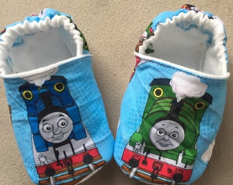 Thomas the Train baby booties, crib shoes, Tank engine, shoes, infant, slippers