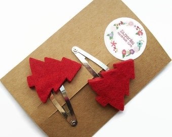 Christmas Baby Snap Clips, Felt Christmas Tree, Hair Clips for Toddlers, Christmas Gifts for Kids, Stocking Filler / Stuffer