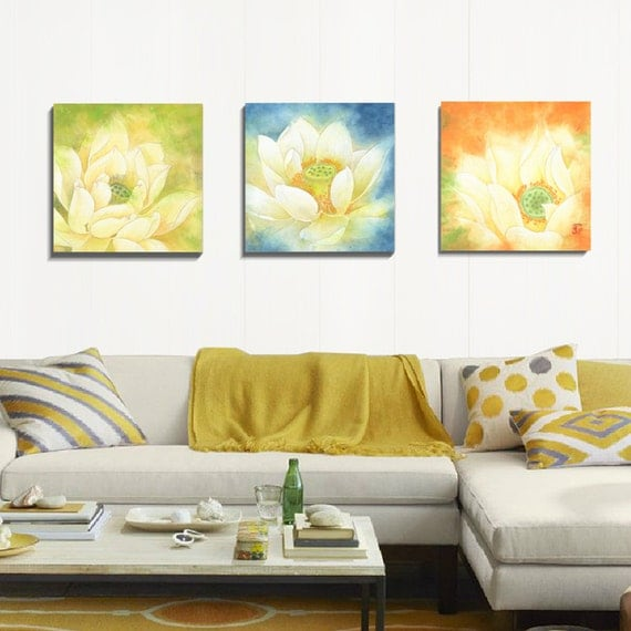 canvas art prints 3 piece wall art watercolor print flower. Black Bedroom Furniture Sets. Home Design Ideas