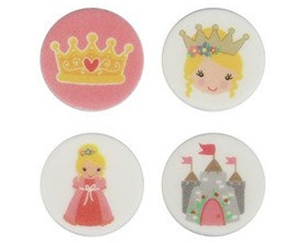 REDUCED Edible Icing Princess Cake Toppers. Princess, Crown, Castle.
