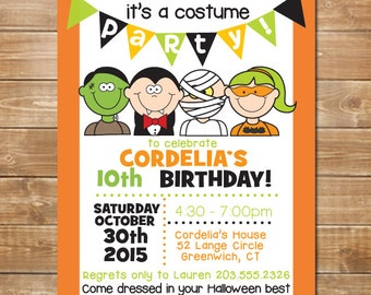 Costume Party Inivitation, Halloween Costume Birthday Party, Kids Printable Party Invite, DIY, Digital File, Dress Up Halloween Party