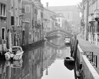 Black and White Venice Photography, Italy Photography, Fine Art Print, Europe, canal, water, boats, bridge, romantic, Decor, Wall Art