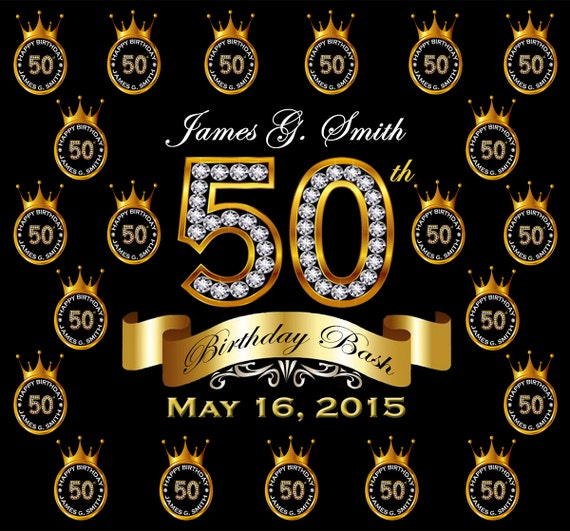 50th Birthday Party Custom Backdrops Step And Repeat Free