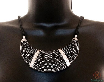 Fitbit Necklace for Fitbit Flex Activity Trackers - The SHARON Black and Silver Studded Bib Statement Fitbit Necklace - FREE U.S. Shipping