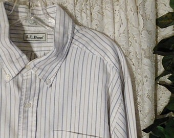 Vintage LL BEAN PINSTRIPE Shirt, Mens Size Large to Extra Large xlt Tall, 18 / 36, 100 Percent Cotton White Blue Dress Business Casual Tail