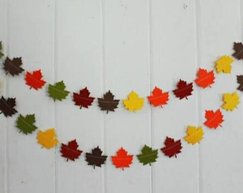 Fall Leaf Garland- Fall maple leaf garland, Fall garland, Maple Leaf garland, fall bunting, leaf bunting, leaves garland, autumn decor