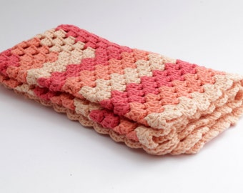 Crochet Baby blanket // Granny Square // Apricot Peach Pink // Baby Girl