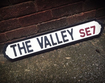 The Valley Charlton Athletic Vintage Street Sign Footaball Ground Road Sign