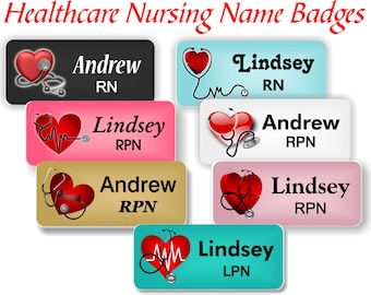 Healthcare Name Badges with Magnetic Fastener, Nursing Name Badge/Tag, Stethoscope and Heart, Medical Badge, Nursing Tag- STETHOHEART