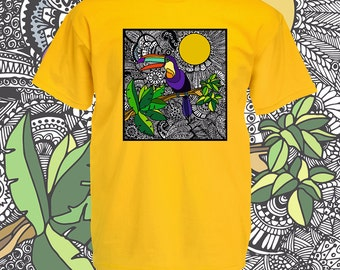 Retro tshirt. Toucan bird 1980s style t shirt. Tropical jungle exotic animal tee. Graphic tees men - kitsch nature lovers and bird watching