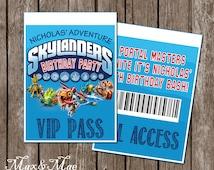 Sklanders Birthday, Skylander Party VIP Pass, Skylander Theme, Skylanders Decorations, Digital, Printable