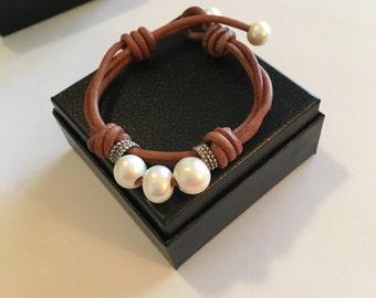 Pearl Bracelet Leather Bracelet (CC-78)