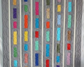 Modern Quilt, Lap Quilt, Grey Quilt, Throw Quilt, Modern Throw Quilt, Q021 Stacked Bars Lap Quilt