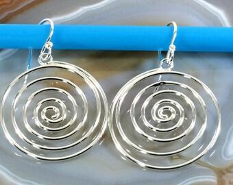 Spiral earrings, 925 sterling silver   --  4104