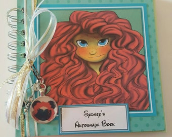 Merida from Brave, Original Art, 6 x 6 Autograph Book,  Journal,  Birthday Party Guest Book