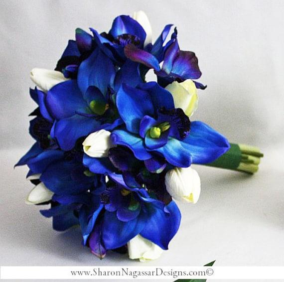 Deep Blue Purple Orchids Cobalt Royal Navy White Bride